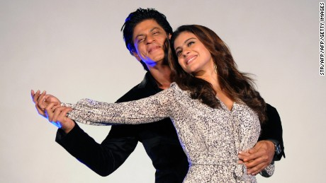 Indian Bollywood actors Shah Rukh Khan and Kajol enjoy a dance.