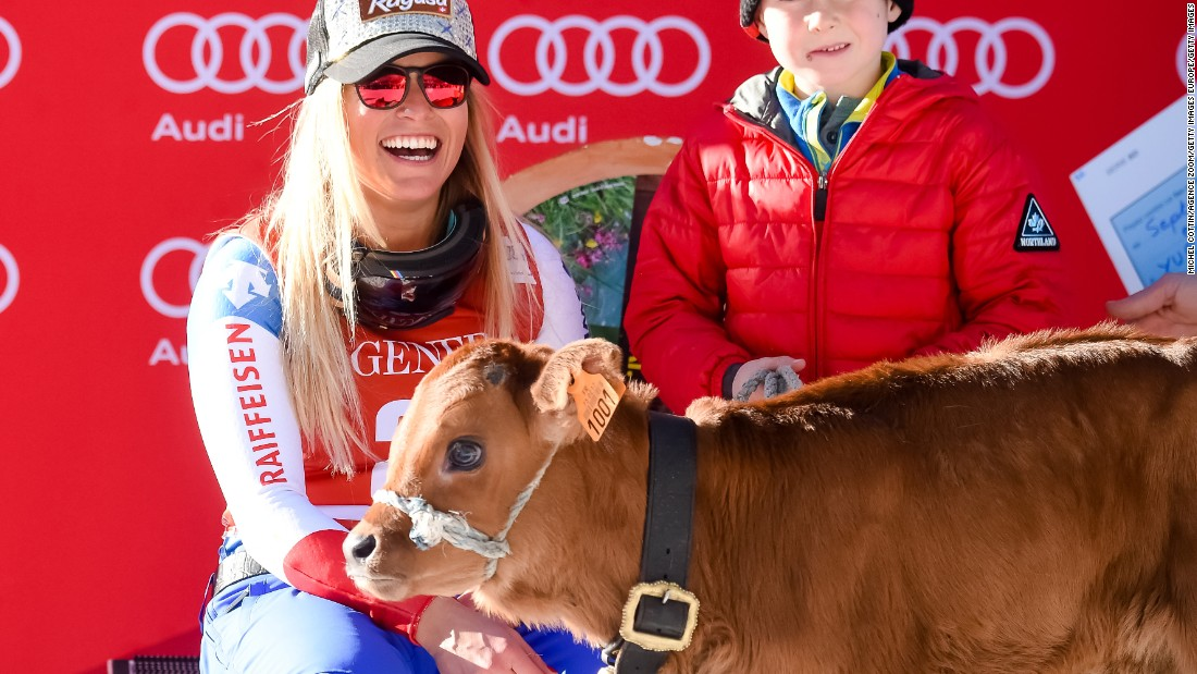 Lara Gut of Switzerland took 1st place and possession of a cow which is traditionally given to the race winner.