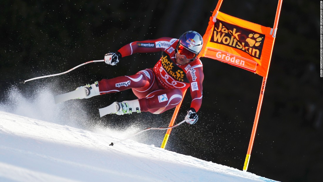 Aksel Lund Svindal of Norway competing during the men's downhill in Val Gardena, Italy.