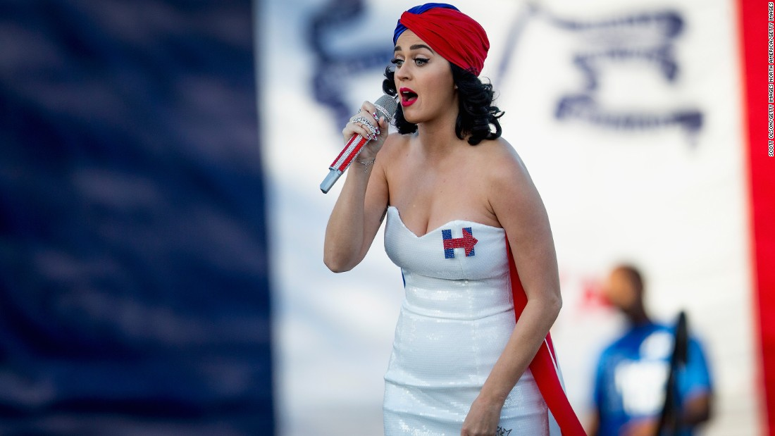 Singer Katy Perry rallies supporters of Hillary Clinton outside the Iowa Events Center before the start of the Jefferson-Jackson dinner in October 2015 in Des Moines, Iowa.