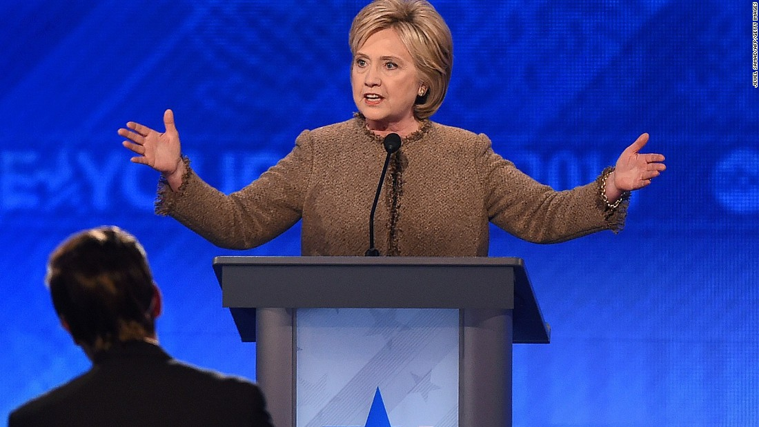 Clinton speaks during the debate.