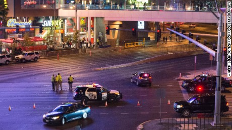 Police investigate a part of the Las Vegas Strip that was closed to traffic after the crash on December 20.