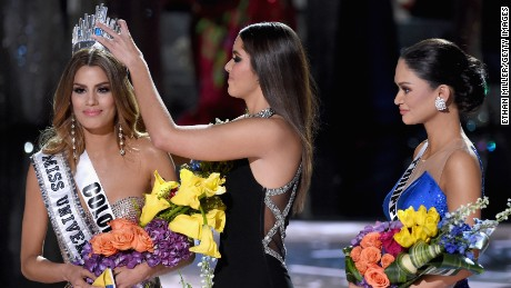 Miss Colombia 2015, Ariadna Gutierrez, left, has her crown removed by Miss Universe 2014, Paulina Vega, and given to the winner of Miss Universe 2015, Miss Phillipines 2015, Pia Alonzo Wurtzbach. Miss Colombia, Ariadna Gutierrez, was incorrectly named Miss Universe 2015 during the 2015 Miss Universe Pageant at The Axis at Planet Hollywood Resort & Casino on December 20, 2015 in Las Vegas, Nevada.