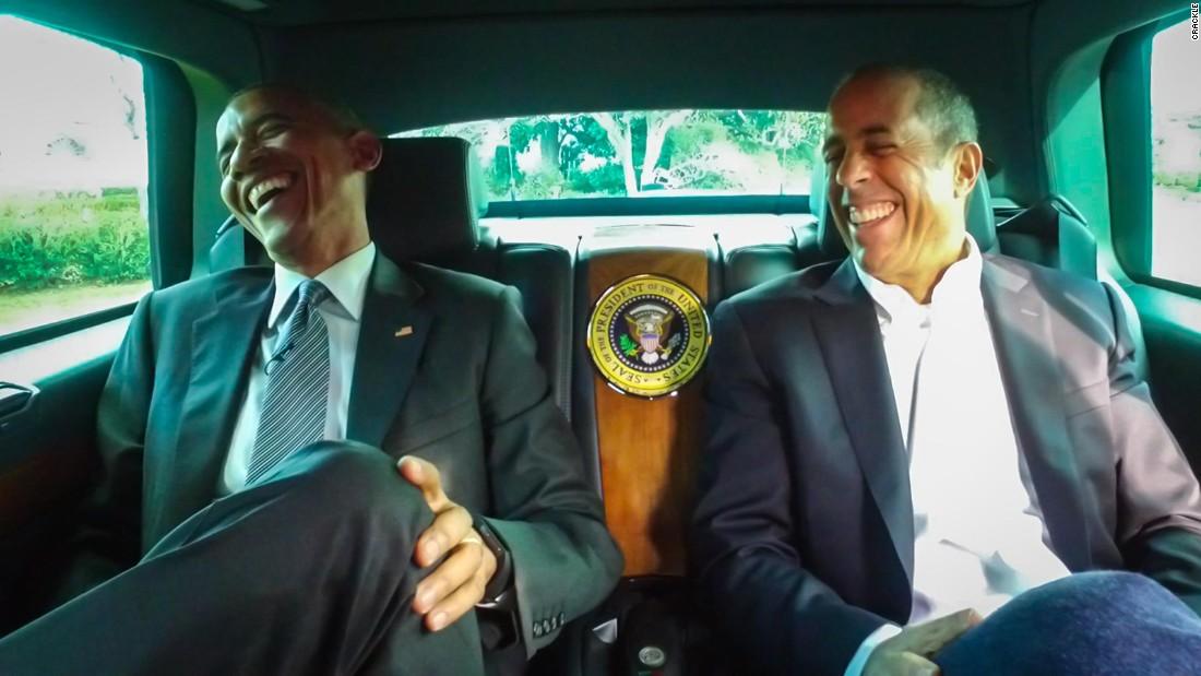 Obama and Seinfeld share a Corvette, conversation