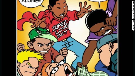 "Emmanuel stars as 'Super Love Boy' in his comic book ""Bully Me?  No Way! I Got the Power."""