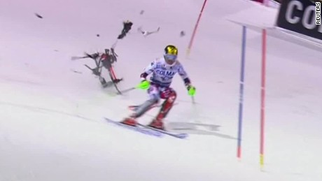 Falling drone misses Marcel Hirscher by inches.
