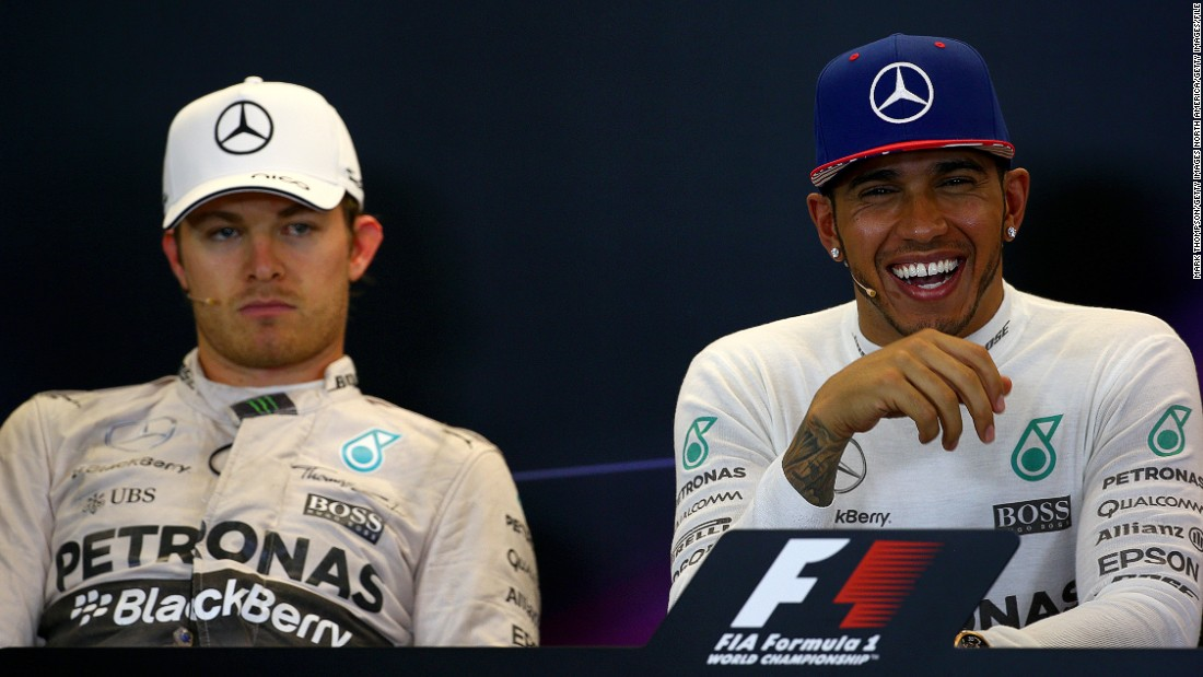 A smiling Lewis Hamilton and a dejected Nico Rosberg after October's United States Grand Prix where the Briton clinched his third Formula One world title. The Mercedes driver insists that the working relationship is good with his German teammate.