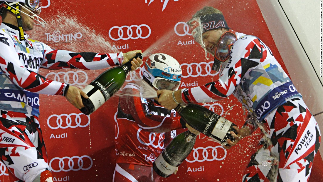 Despite the incident, Hirscher finished in second place, 1.25 seconds behind Henrik Kristoffersen of Norway in first and ahead of compatriot Marco Schwarz who finished third.