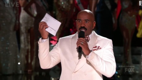 Steve Harvey holds up the card with the name of the 2015 Miss Universe winner.
