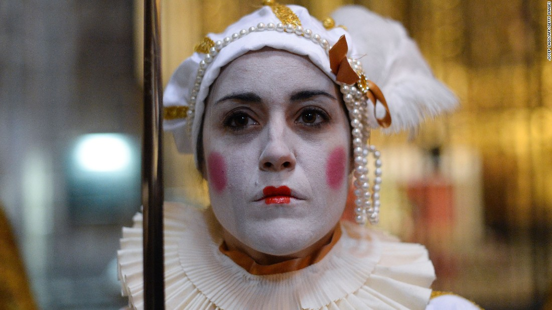"A woman performs ""The Song of the Sybil"" during a rehearsal at Barcelona's cathedral in Barcelona, Spain, on Thursday."