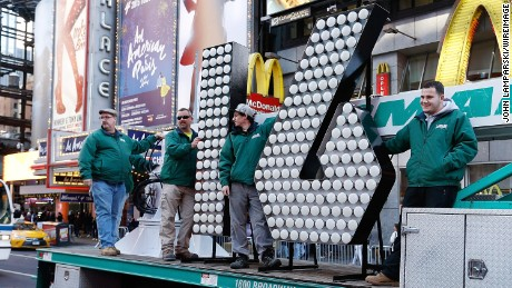 New Year's Eve numerals arrive in Times Square on December 15 in New York City.