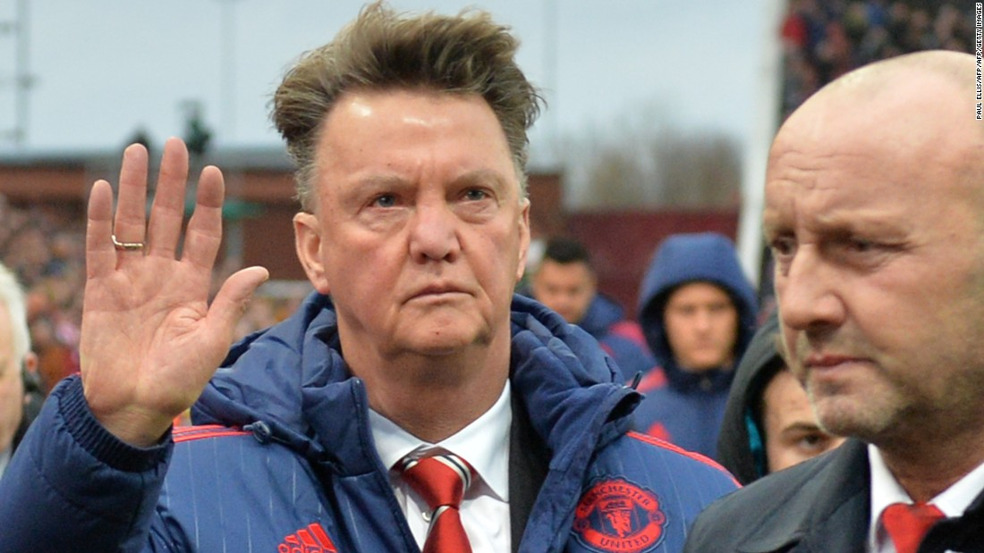 Van Gaal waves as he leaves after December's 2-0 Premier League defeat at Stoke.