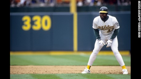 OAKLAND, CA - JULY 14:  Dave Henderson #42 of the Oakland Athletics leads off from first base during an MLB game against the Baltimore Orioles on July 14, 1991 at Oakland-Alameda County Coliseum at Oakland, California. (Photo by Otto Greule Jr./Getty Images)