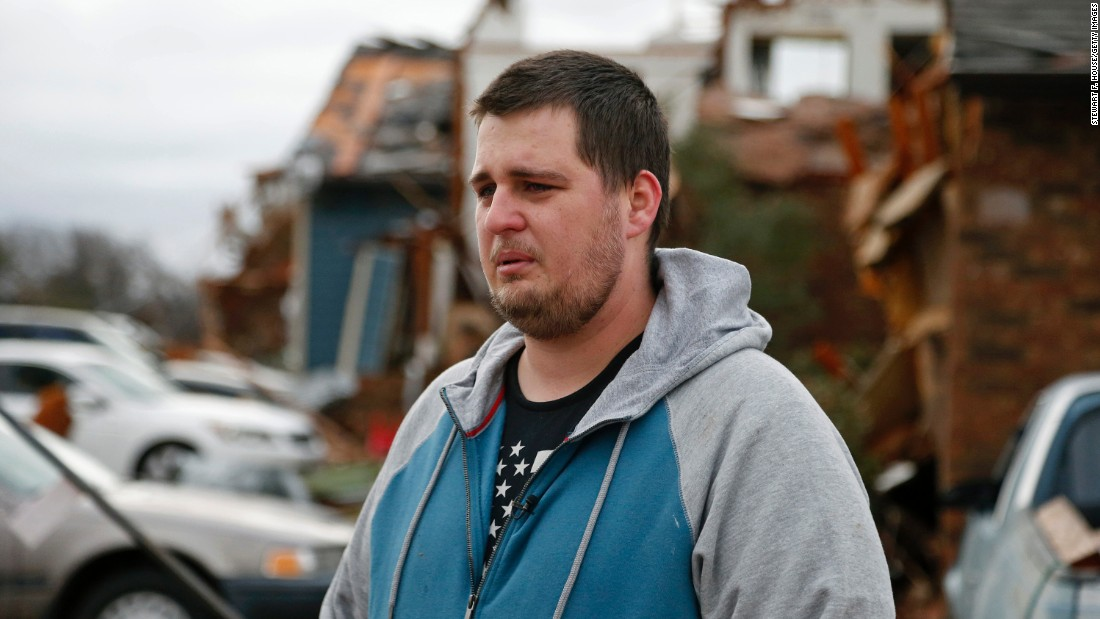 Josh White gets emotional as he recounts how he lived through the tornado that hit Garland, Texas, on Saturday, December 28. The National Weather Service confirmed that three tornadoes were part of storms that ripped through the Dallas area, killing 11 people and damaging hundreds of buildings.