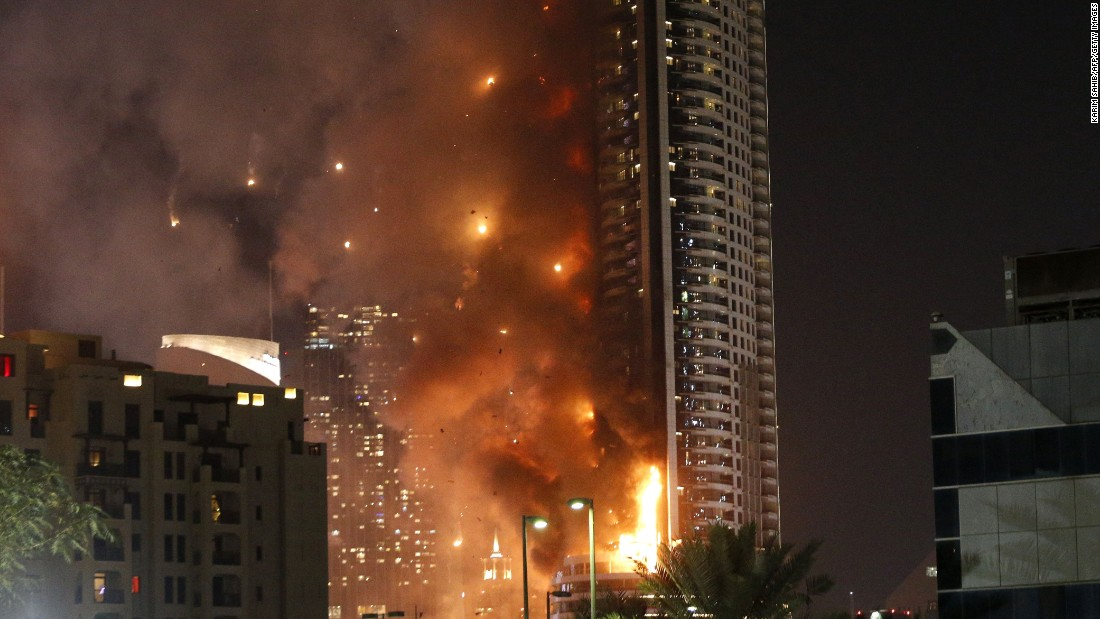 "<strong>December 31: </strong>The Address hotel burns <a href=""http://www.cnn.com/2015/12/31/world/gallery/dubai-fire/index.html"" target=""_blank"">during a massive fire</a> in Dubai, United Arab Emirates. More than a dozen people sustained minor injuries, according to the Twitter account of the Dubai government's media office. A source told CNN the fire broke out in a residence on the building's 20th floor when curtains caught on fire."