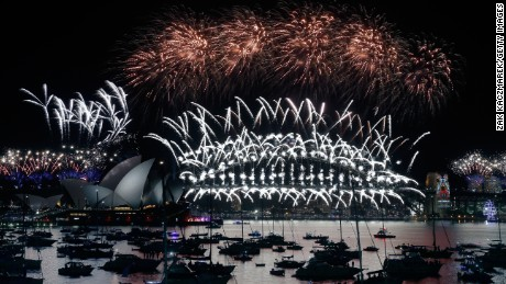 Fireworks on display at the New Year's Eve celebrations in Sydney, Australia.