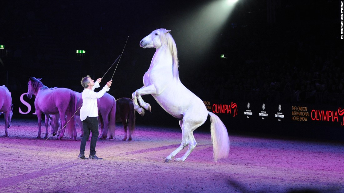 "Pignon performing at the London International Horse Show at Olympia in December 2015. The annual event which was first organized in 1907 showcases an international cast of riders who compete in showjumping, dressage, carriage driving competitions. There are also theatrical shows like Pignon's, which are always a hit with the crowds.<br />""He can get horses to do things that other people just can't get them to do,"" explains Jo Peck, who oversees Olympia's marketing and communications. ""He has this almost telepathic conversation that goes on."""