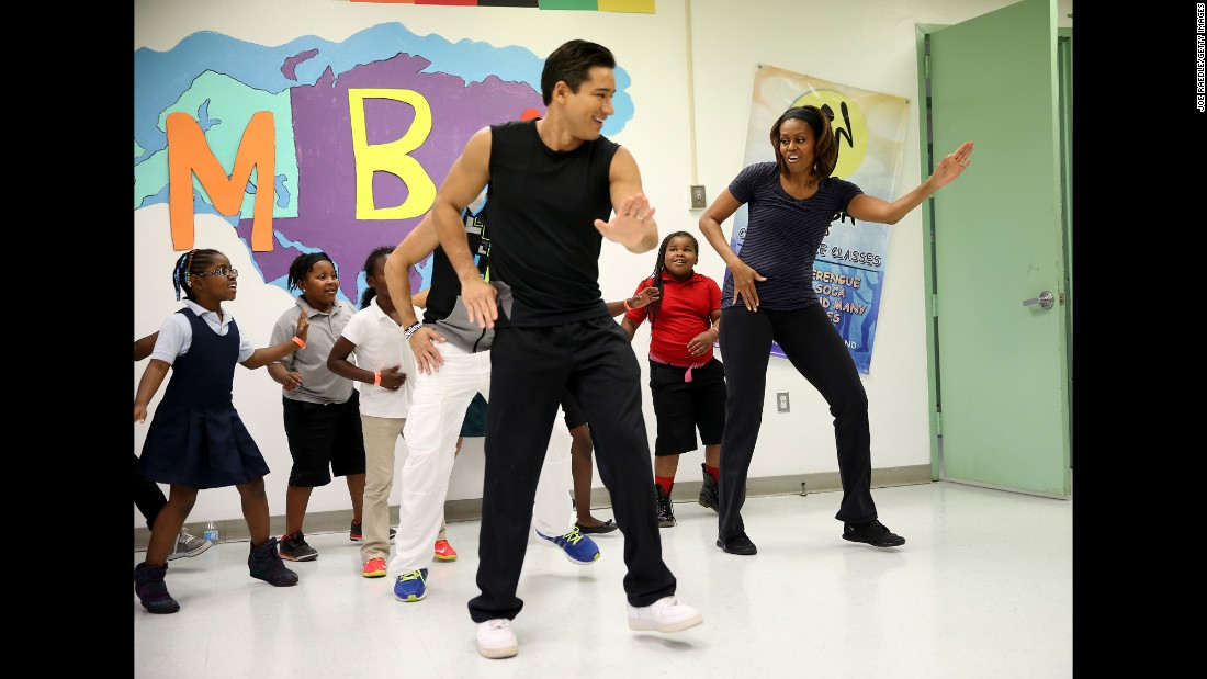 "Mario Lopez has been a cheerful presence on ""America's Best Dance Crew"" and ""The X Factor.""  Here he dances with Michelle Obama as part of the first lady's Let's Move initiative."