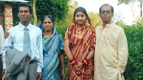 Ahmed Rajib Haider (far left) with his wife and parents. Haider was the first blogger to be killed in a string of secular writers and publishers who have been murdered in Bangladesh. Haider, a secular blogger, was hacked to death in the Mirpur section of the capital Dhaka in February 2013.