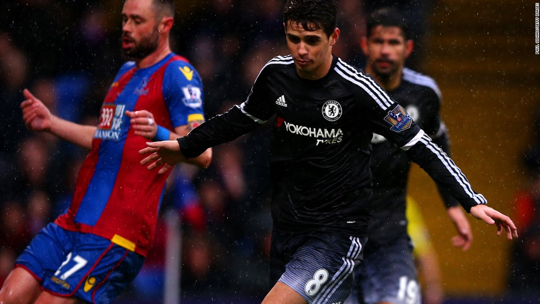 Brazilian Oscar wheels away after breaking the deadlock for Chelsea at Crystal Palace.