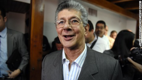 Venezuelan deputy for the Accion Democratica party, Henry Ramos Allup talks after a press conference in Caracas on December 29, 2015. Venezuelan President Nicolas Maduro's party has filed a legal challenge against the election of eight opposition lawmakers, threatening the two-thirds majority it won in landmark polls this month, the high court said Tuesday.  AFP PHOTO/JUAN BARRETO / AFP / JUAN BARRETO        (Photo credit should read JUAN BARRETO/AFP/Getty Images)