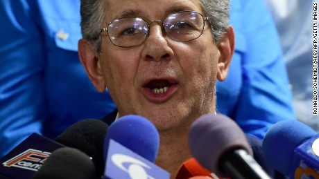 "Deputy Henry Ramos Allup, who was chosen by Venezuela's opposition on Sunday as president to the new parliament, speaks during a press conference in Caracas, on January 3, 2016. The new legislature will be inaugurated on January 5, ending the ""revolution"" launched in 1999 by late president Hugo Chavez in the oil-rich but troubled country.   AFP PHOTO / RONALDO SCHEMIDT / AFP / RONALDO SCHEMIDT        (Photo credit should read RONALDO SCHEMIDT/AFP/Getty Images)"