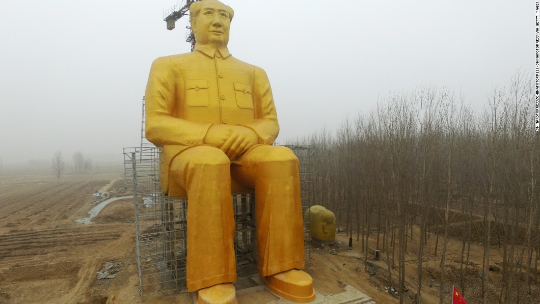 Local media reports that the statue cost nearly three million yuan ($460,000) donated by several entrepreneurs and some villagers.