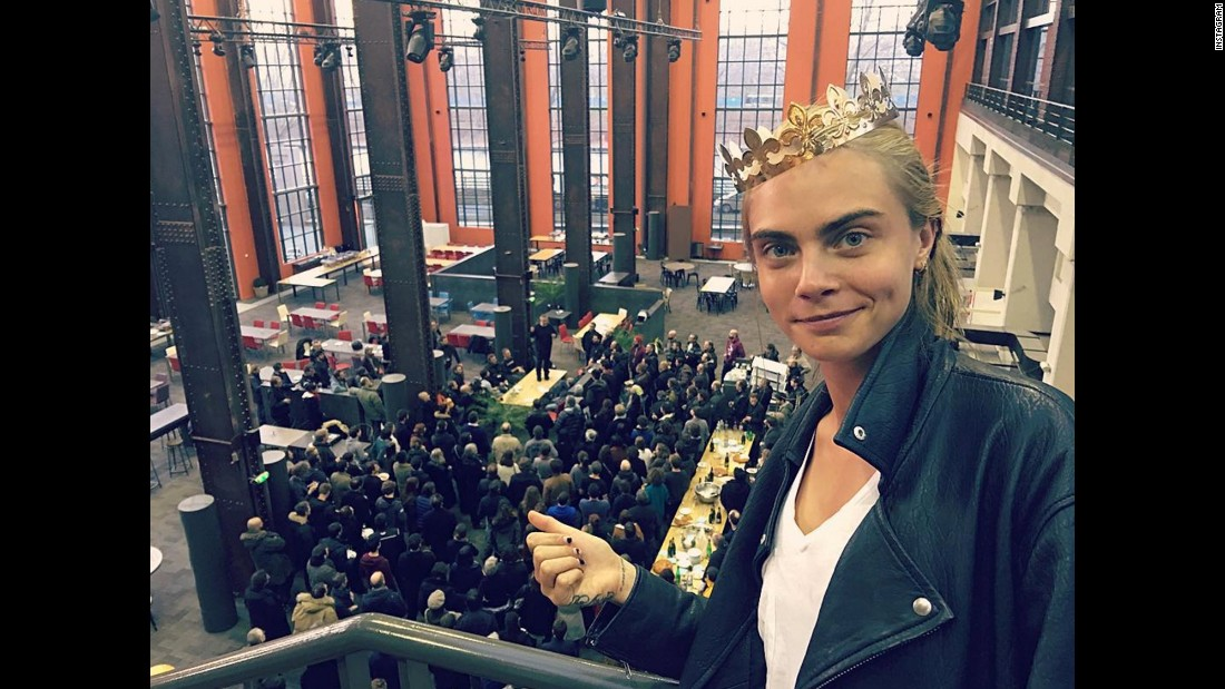 "Actress and model Cara Delevingne takes a selfie from the set of her upcoming movie ""Valerian"" on Monday, January 4. ""And so it begins!"" <a href=""https://www.instagram.com/p/BAH6otdDKOs/?taken-by=caradelevingne"" target=""_blank"">she said on Instagram.</a> ""New film, new family."""