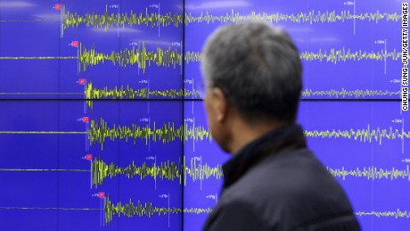 SEOUL, SOUTH KOREA - JANUARY 06:  Yun Won-Tae, a Earthquake and Volcano of the Korea Meteorological Administration Director General stands in front of a screen showing seismic waves that were measured on January 6, 2016 in Seoul, South Korea. North Korea confirmed it has conducted a hydrogen bomb test after South Korea's Metrological Administration detected an 'artificial earthquake' near  Punggye-ri, North Korea's main nuclear testing site on January 6, 2015.  (Photo by Chung Sung-Jun/Getty Images)