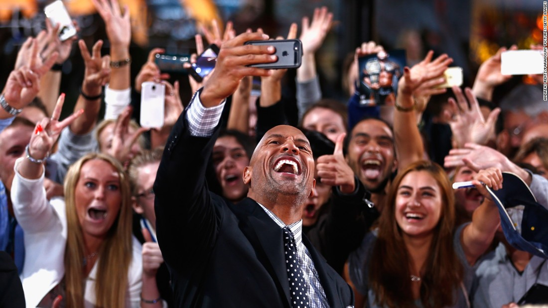 "Sharing moments with his fans ""will always be the best part of my job,"" said Johnson, here at a premiere for 2014's ""Hercules."""