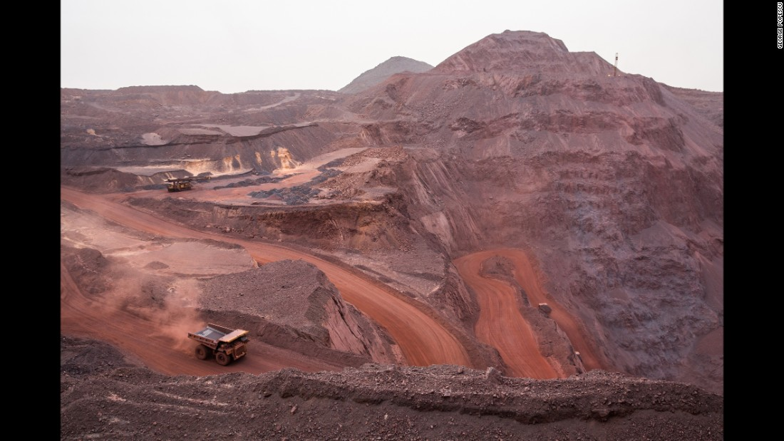A truck transports iron ore at a mine in Zouérat, Mauritania.