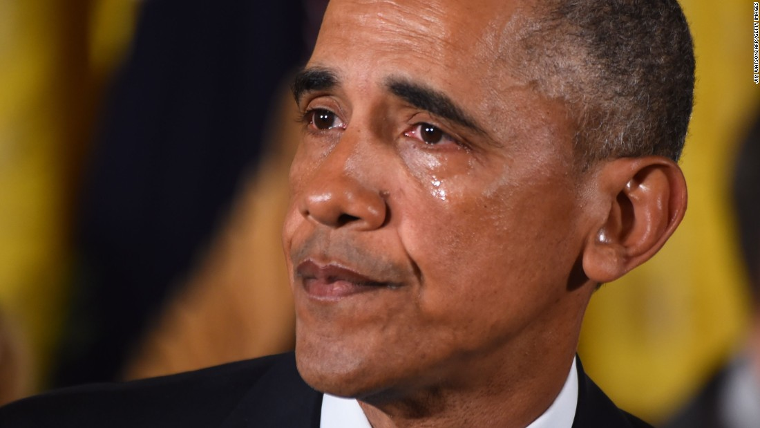 Obama cries in January 2016 as he delivers a statement on his executive action to reduce gun violence.