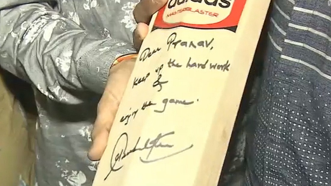 Pranav also received a signed bat from Tendulkar. The 42-year-old retired from cricket in November 2013 and is the highest run-scorer in both Test and One-Day international matches.