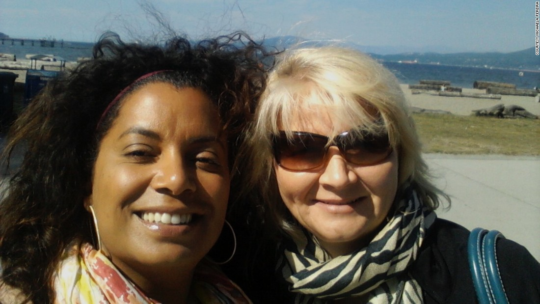 "CNN's Michaela Pereira in Vancouver in 2012 with her person, Moyra Rodger, ""who has affected not just my career but my life.""<br />""What I found most fascinating in the telling of our story is that putting so much attention on Moyra made her incredibly uncomfortable! I suppose I shouldn't be surprised. In my many years of journalism and community service, rare is the hero or mentor who volunteers to stand in the spotlight. Moyra was no different; she almost squirmed any time a complimentary word of thanks was leveled her way."""