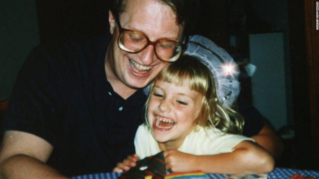 "Poppy gives her dad James Harlow a tie nicknamed ""the button tie"" that she made for him on his birthday.<br />"