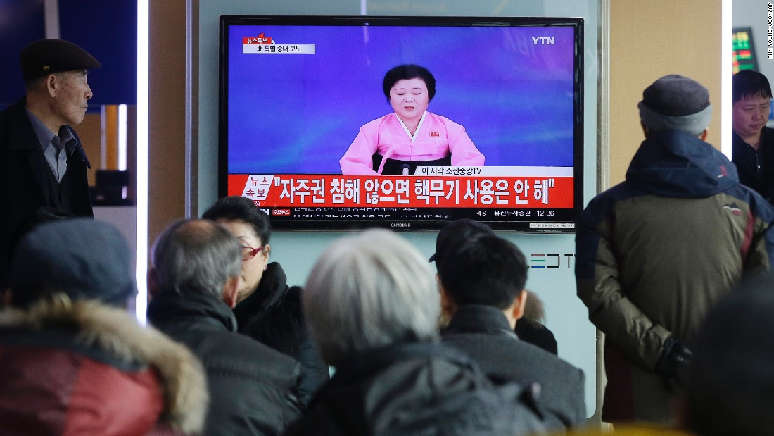 "A news program in Seoul, South Korea, shows <a href=""http://www.cnn.com/2016/01/05/asia/north-korea-seismic-event/"" target=""_blank"">North Korea's announcement of a hydrogen bomb test</a> on Wednesday, January 6. North Korea bragged about the ""spectacular success"" of the test, which would be a first for the country, but its claims are being treated with skepticism by outside experts. Even if it wasn't an H-bomb, there's little doubt that North Korea did conduct a nuclear test despite persistent calls not to do so, and the U.N. Security Council <a href=""http://www.cnn.com/2016/01/06/asia/north-korea-hydrogen-bomb-test/"" target=""_blank"">plans to work on a new resolution</a> with ""significant"" punitive measures, according to a statement."
