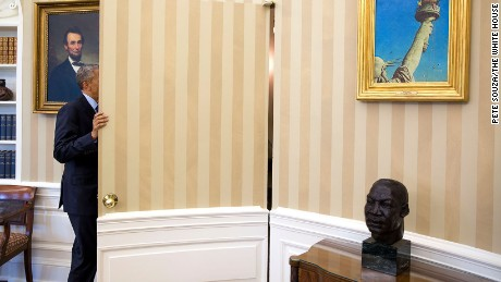 President Obama keeps a bust of the Rev. Martin Luther King Jr. in the Oval Office.