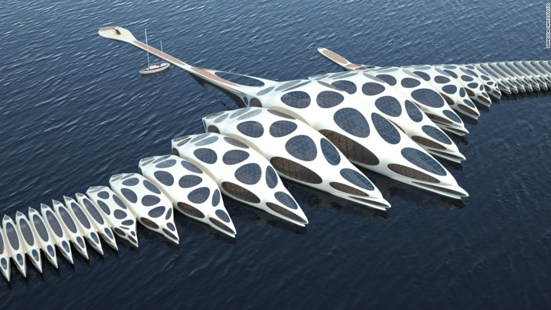 "Designed by engineer and architect Gianluca Santosuosso, the MORPHotel project aims to develop a new luxury hotel concept. The hotel's ""vertebral spine"" allows it to adapt its shape according to weather conditions and its docking location."