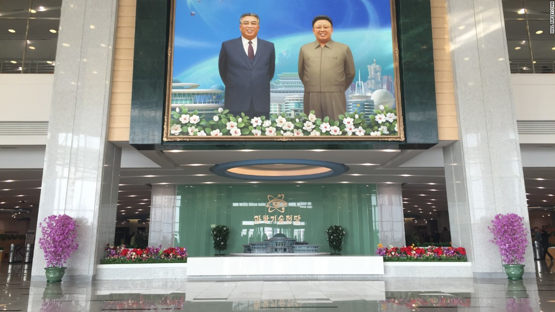 A giant portrait of late North Korean dictators Kim Il Sung and Kim Jong Il.