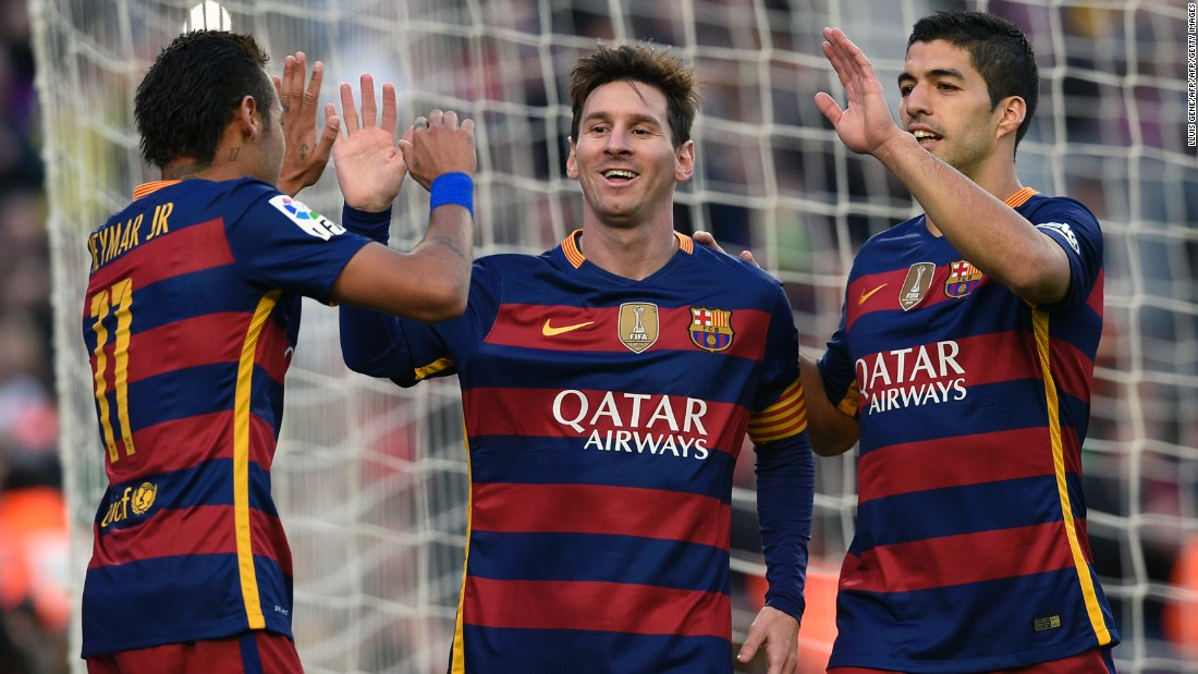 The potent striking trinity of Messi (C) Neymar (L) and Suarez celebrate after closing out the game in style.