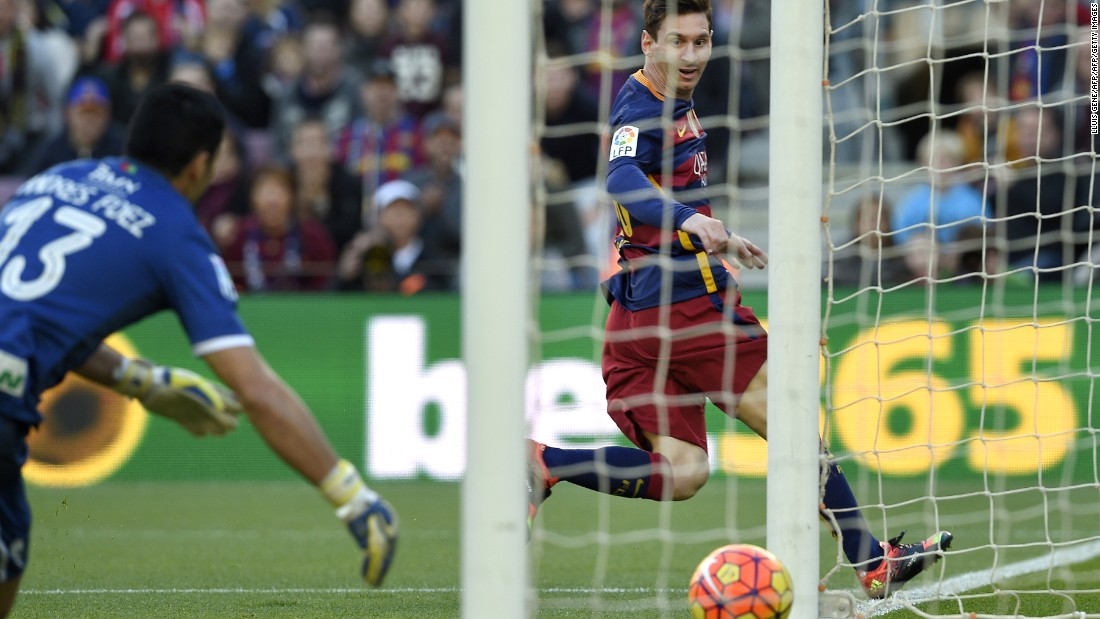 Messi grabbed his first after just eight minutes and then added a second shortly after.
