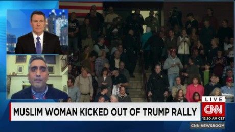 exp Muslim Woman protests Trump at rally after he likens Syrians to ISIS _00215024