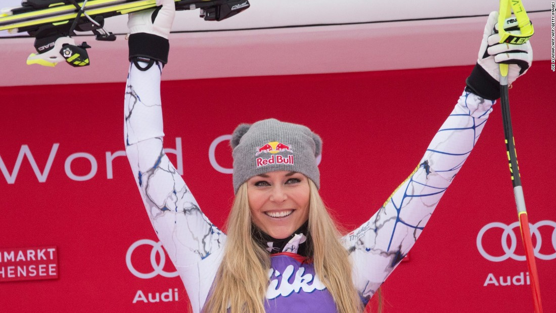 Vonn celebrates winning the downhill event in Zauchensee, Austria.