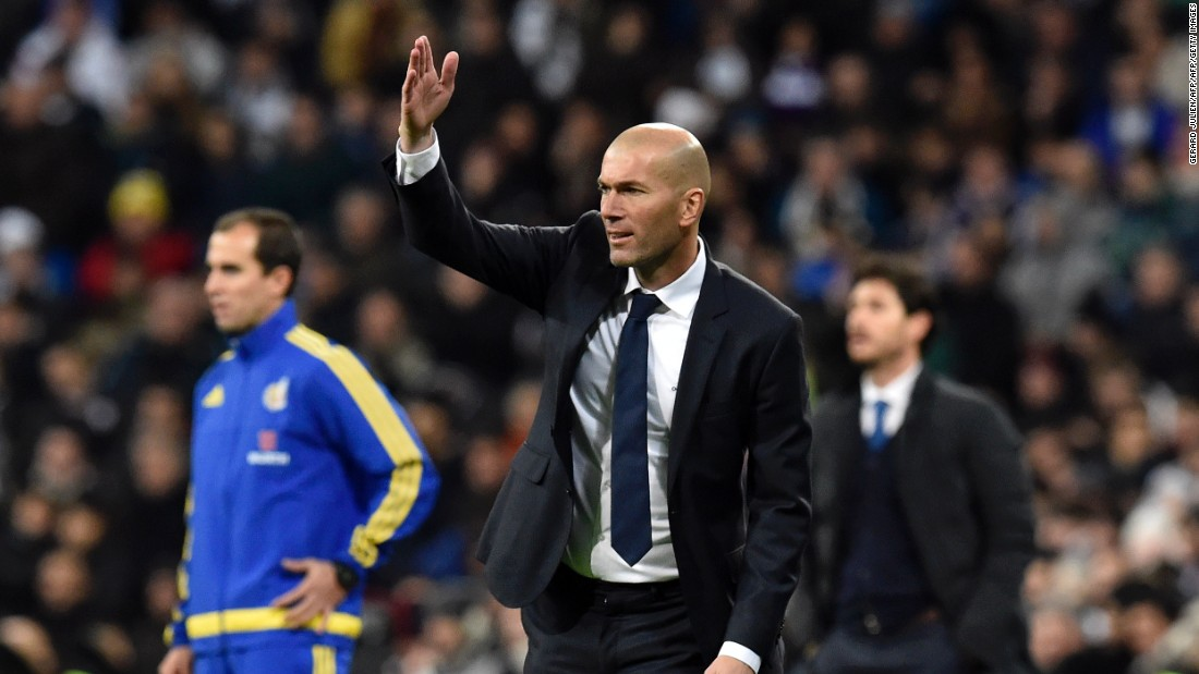 French coach Zinedine Zidane gestures during the Spanish La Liga match between Real Madrid and Deportivo La Coruna at the Santiago Bernabeu.