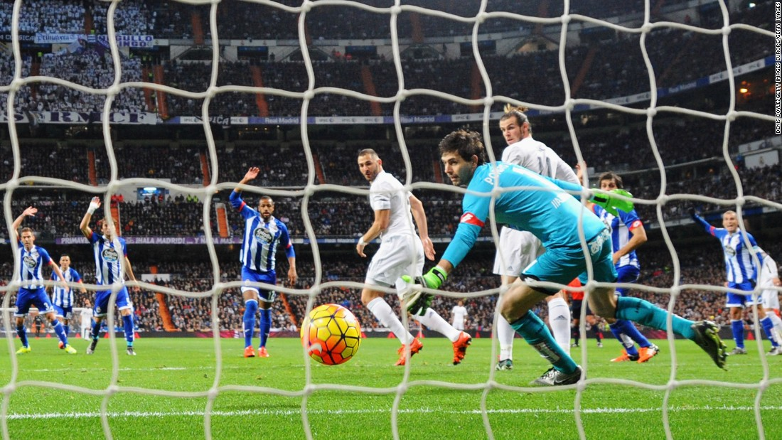 Karim Benzema opened the scoring after 15 for Real with a cheeky backheel flick.
