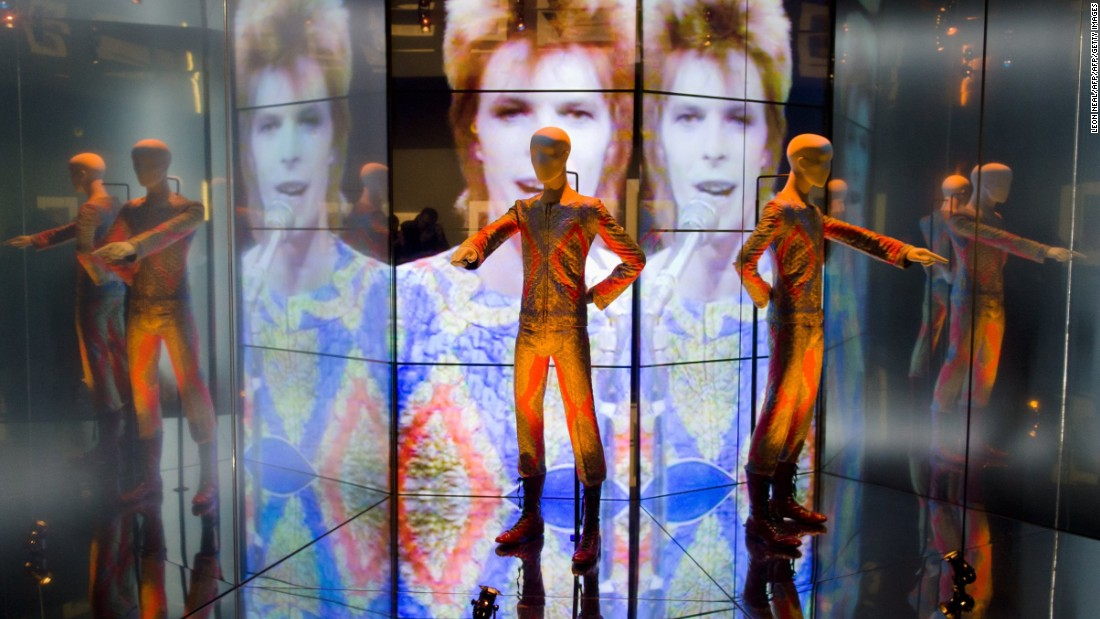 "Bowie wore this ""Starman"" costume for his appearance in ""Top of the Pops"" in 1972. It was featured in the ""David Bowie is"" exhibition in Victoria and Albert (V&A) Museum in London in 2013. It is one of 300 objects from the exhibit."
