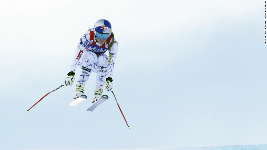 American skier Lindsey Vonn tucks her body during a World Cup race in Altenmarkt-Zauchensee, Austria, on Saturday, January 9. It was her 36th downhill title, tying the record set by Annemarie Moser-Proell.