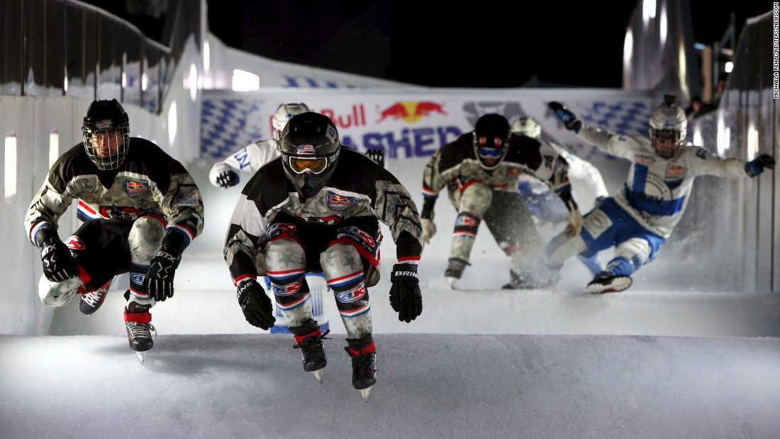 Skaters race downhill during the Red Bull Crashed Ice event in Munich, Germany, on Friday, January 8.