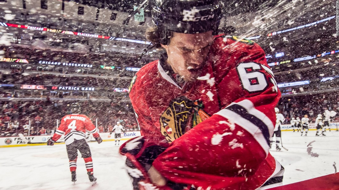 Chicago's Andrew Shaw is sprayed with water prior to an NHL game against Pittsburgh on Wednesday, January 6.