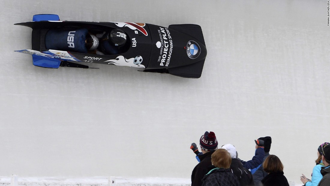 American bobsledders Brittany Reinbolt and Bonnie Kilis compete at a World Cup event in Lake Placid, New York, on Friday, January 8.